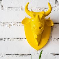 "Настенная голова коровы - ""Эко-трофей"" CowParade Trophy Head Yellow"